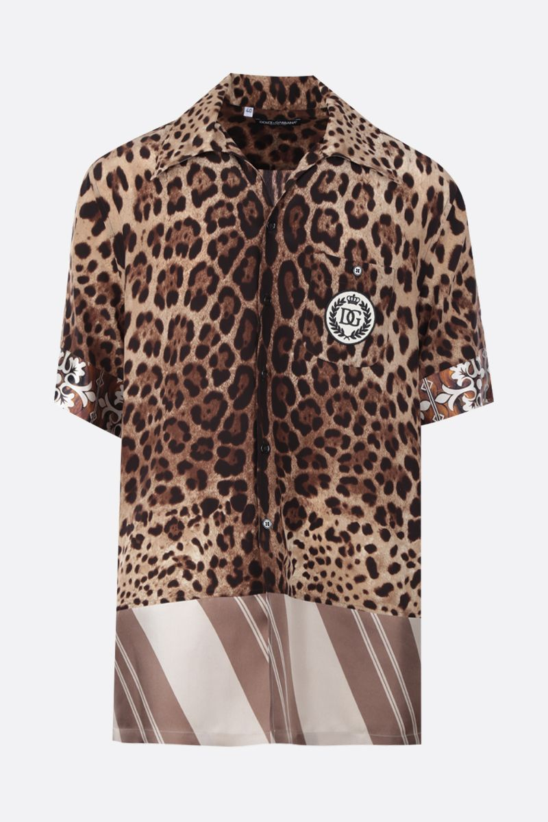 DOLCE & GABBANA: printed silk bowling shirt Color Multicolor_1
