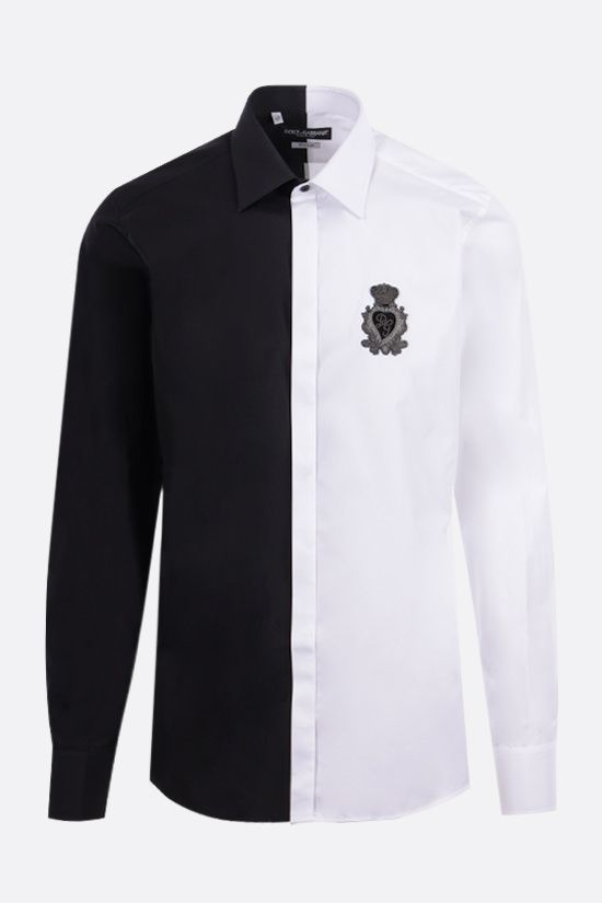 DOLCE & GABBANA: two-tone poplin shirt with logo patch Color Black_1
