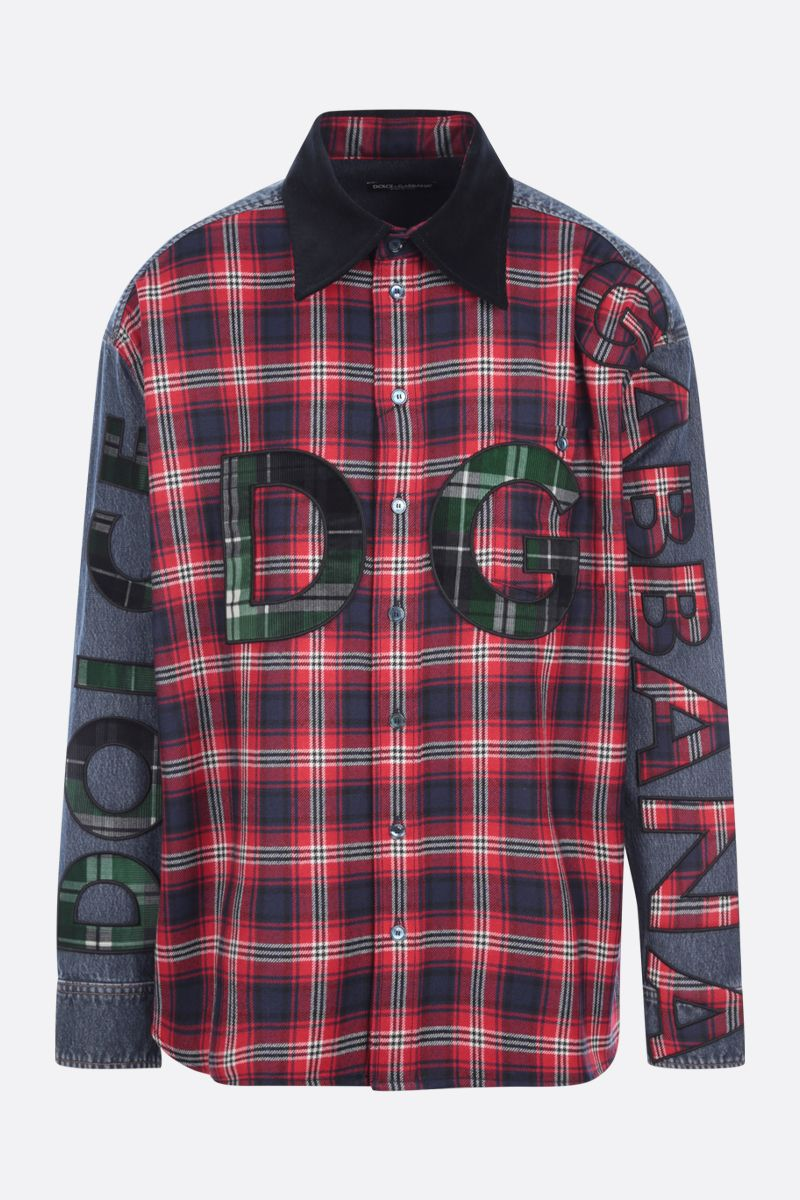 DOLCE & GABBANA: logo patch denim and wool shirt Color Multicolor_1