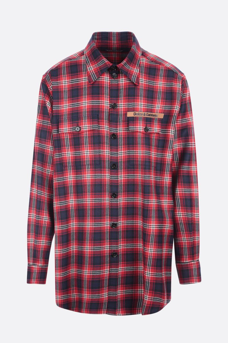 DOLCE & GABBANA: logo-detailed check wool shirt Color Multicolor_1