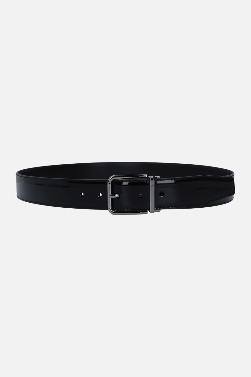 DOLCE & GABBANA: patent leather classic belt Color Black_1