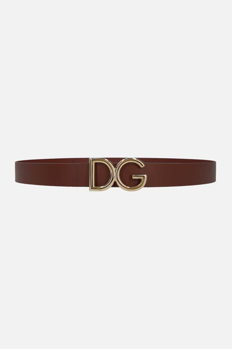 DOLCE & GABBANA: DG buckle-detailed shiny leather belt Color Brown_1