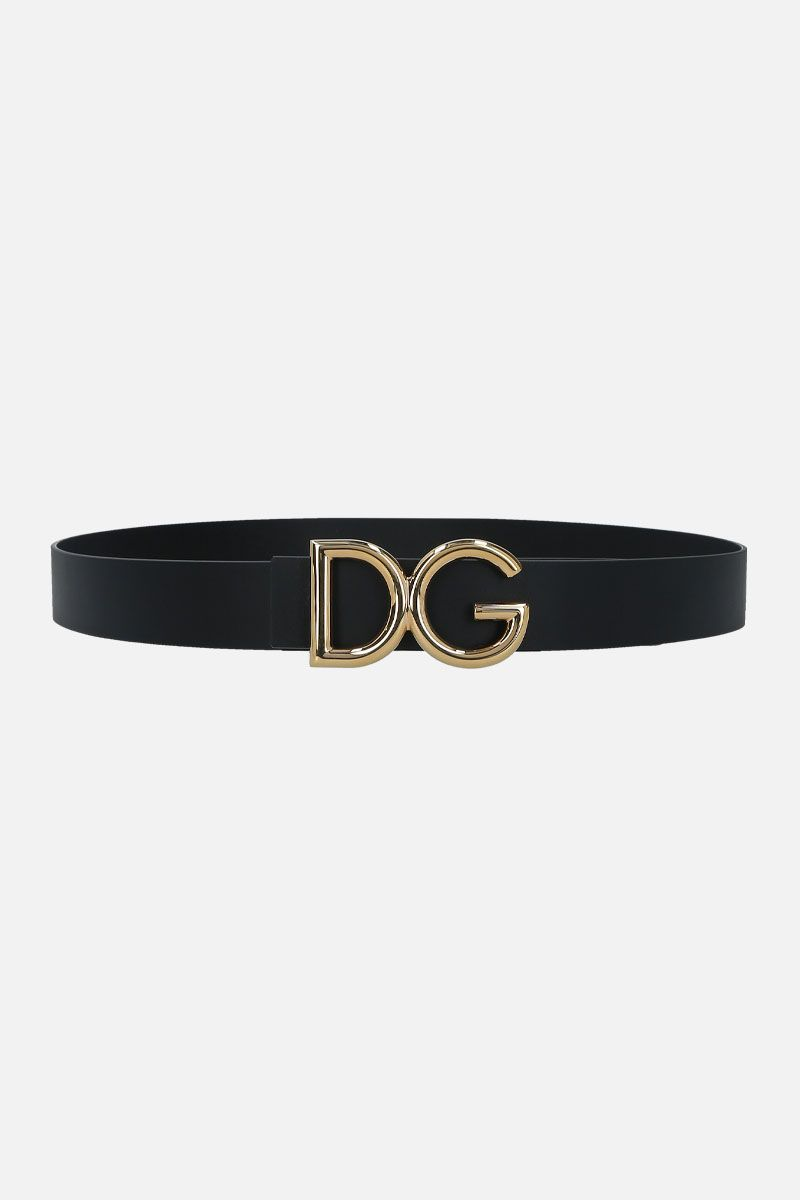 DOLCE & GABBANA: DG bucke-detailed shiny leather belt Color Black_1
