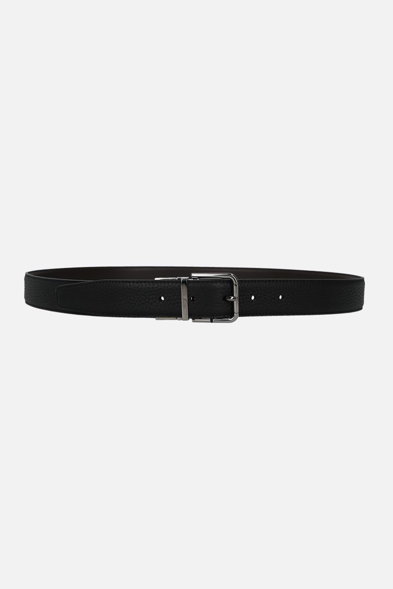 DOLCE & GABBANA: grainy and smooth leather reversible belt_1