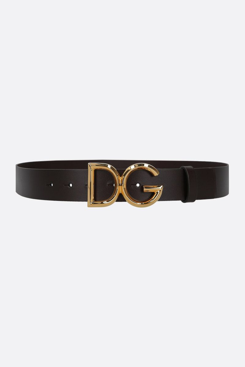 DOLCE & GABBANA: DG buckle-detailed smooth leather belt_1