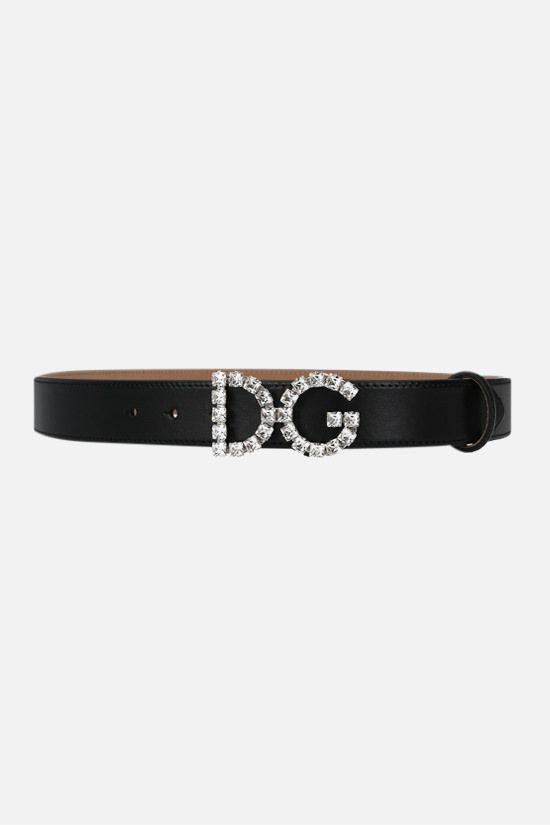 DOLCE & GABBANA: DG buckle-detailed smooth leather belt Color Black_1