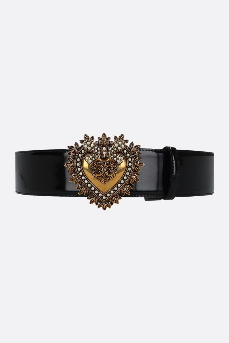 DOLCE & GABBANA: Devotion shiny leather belt Color Black_1