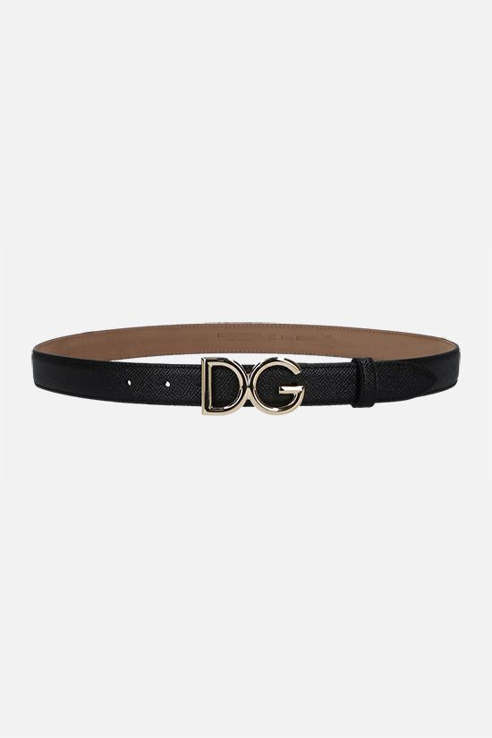 DOLCE & GABBANA: DG buckle-detailed Dauphine leather belt Color Black_1
