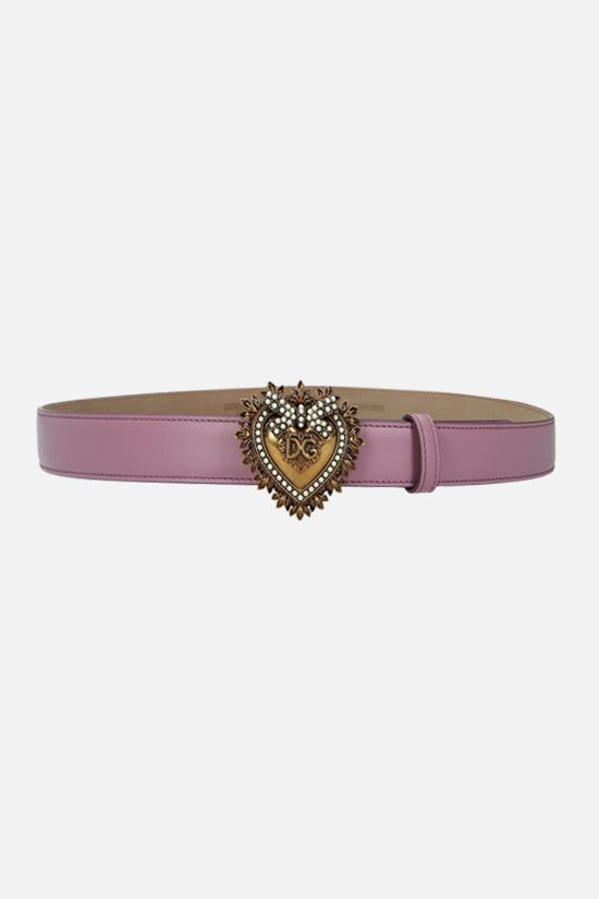 DOLCE & GABBANA: Devotion smooth leather belt Color Pink_1