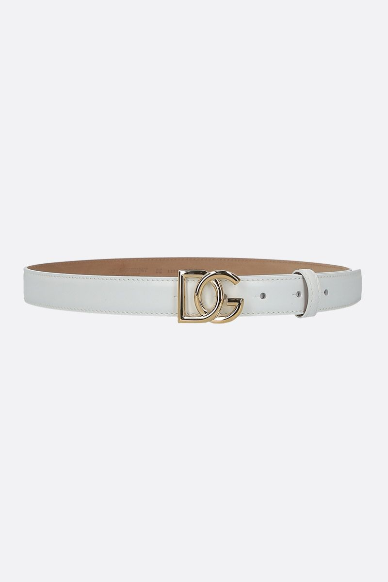 DOLCE & GABBANA: DG buckle-detailed smooth leather belt Color White_1