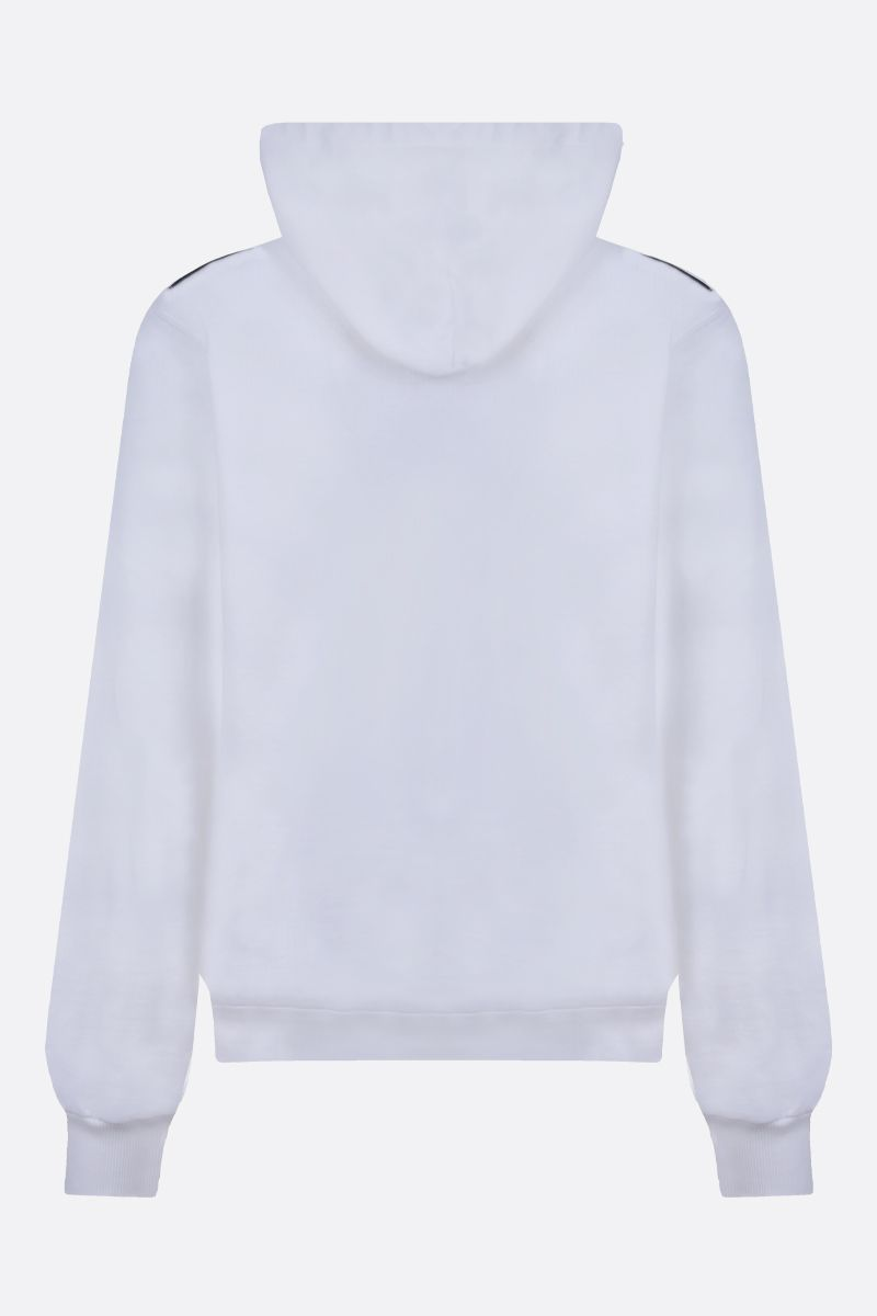 DOLCE & GABBANA: logo patch cotton hoodie Color White_2