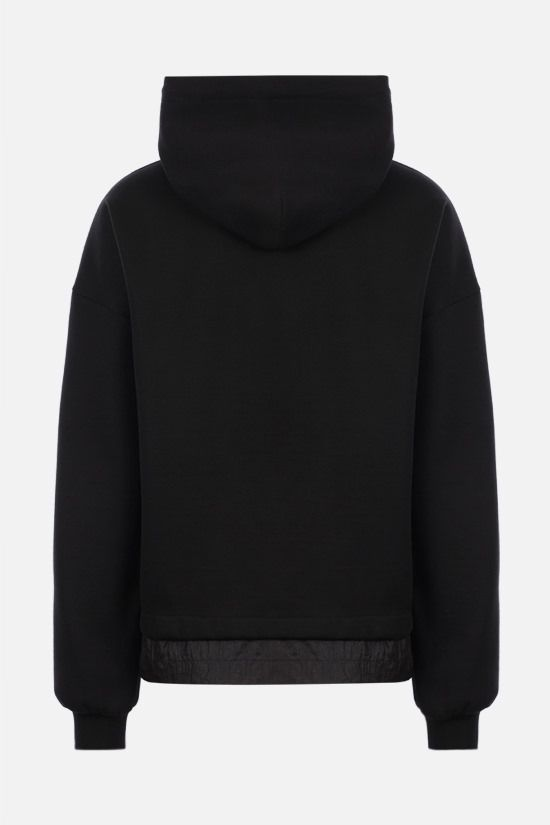 DOLCE & GABBANA: nylon-detailed cotton hoodie Color Black_2