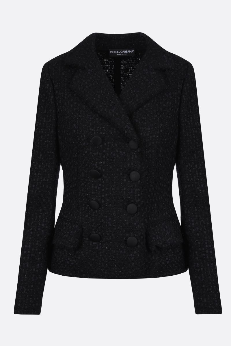 DOLCE & GABBANA: tweed double-breasted jacket Color Black_1