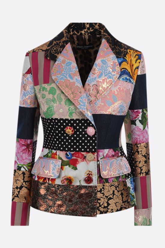 DOLCE & GABBANA: patchwork brocade and jacquard double-breasted jacket Color Multicolor_1