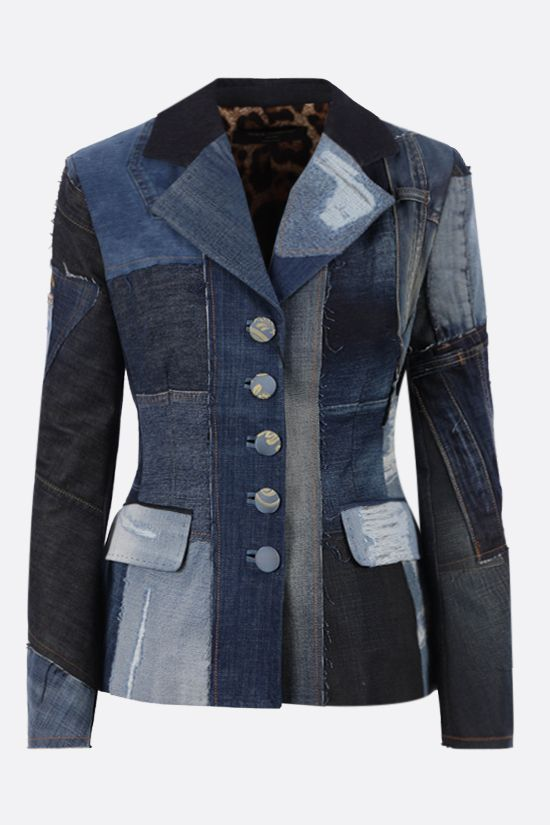 DOLCE & GABBANA: single-breasted patchwork denim jacket Color Blue_1