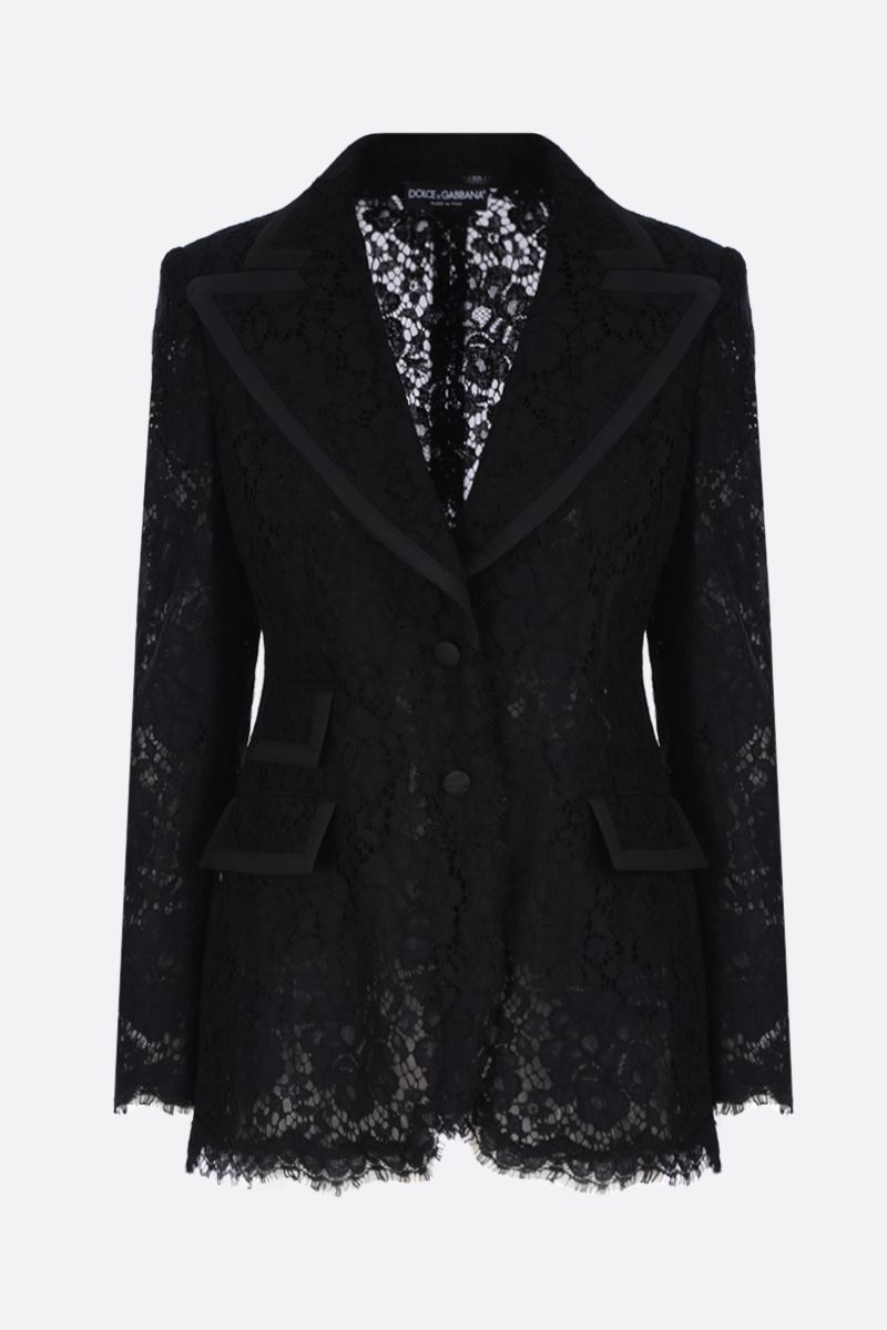 DOLCE & GABBANA: Cordonetto lace single-breasted jacket Color Black_1