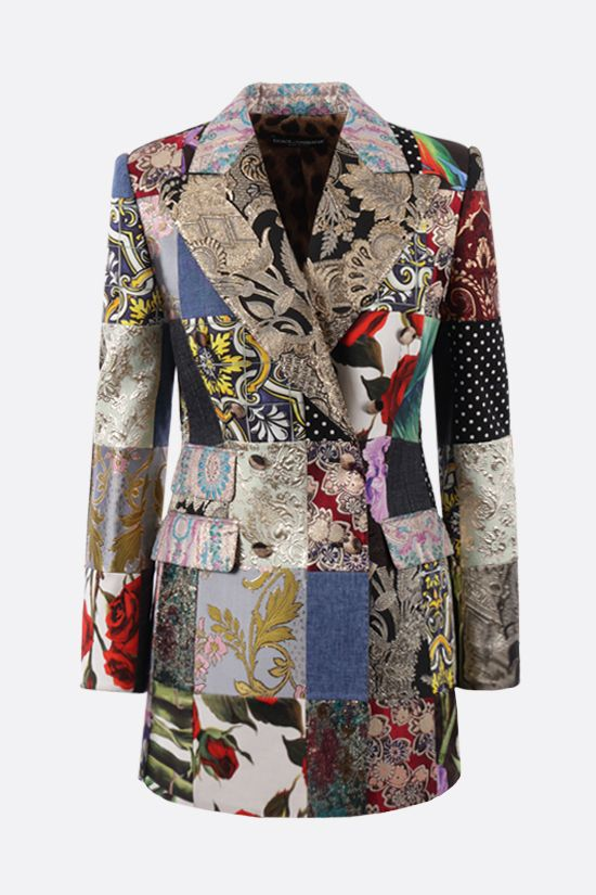 DOLCE & GABBANA: double-breasted patchwork jacquard jacket Color Multicolor_1