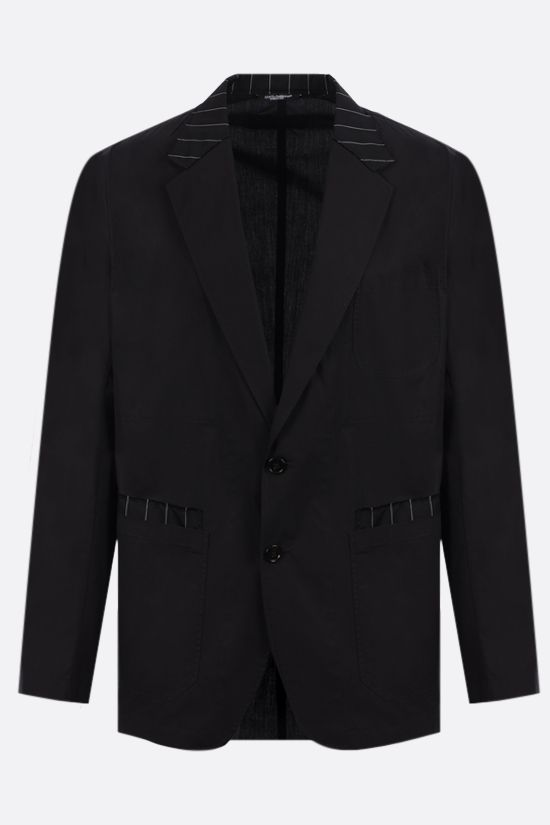 DOLCE & GABBANA: single-breasted wool cotton blend jacket Color Black_1