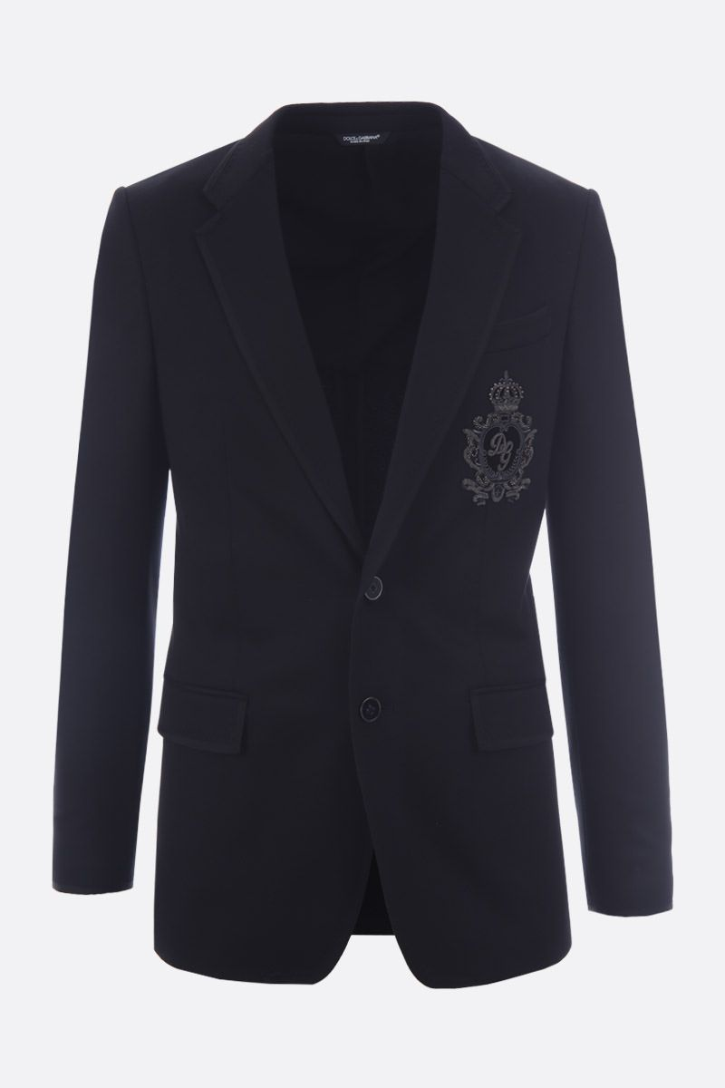 DOLCE & GABBANA: DG Crown patch jersey single-breasted jacket Color Black_1