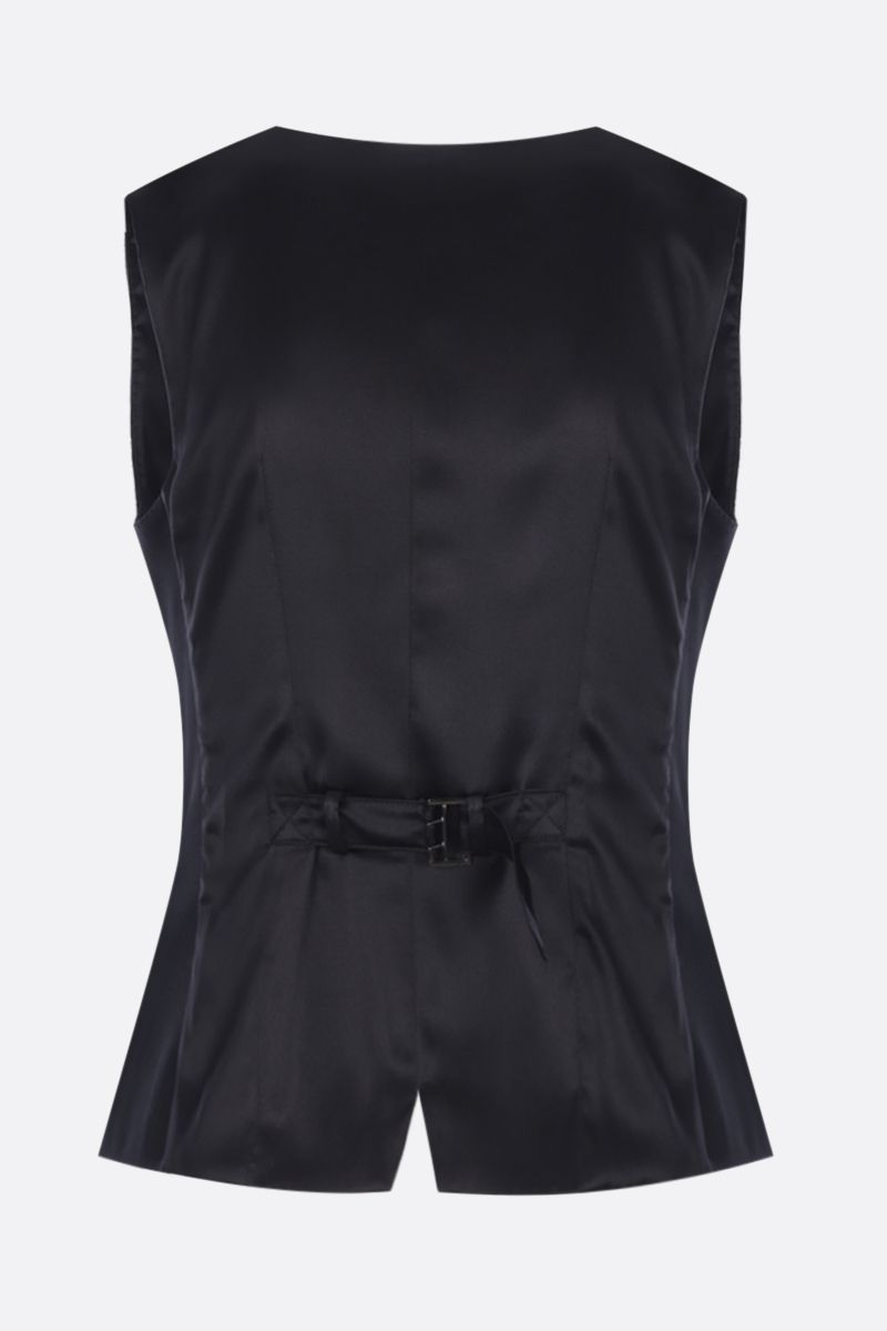 DOLCE & GABBANA: double-breasted waistcoat in technical gabardine Color Black_2