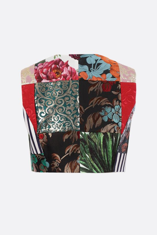 DOLCE & GABBANA: patchwork brocade and drill jacquard vest Color Multicolor_2