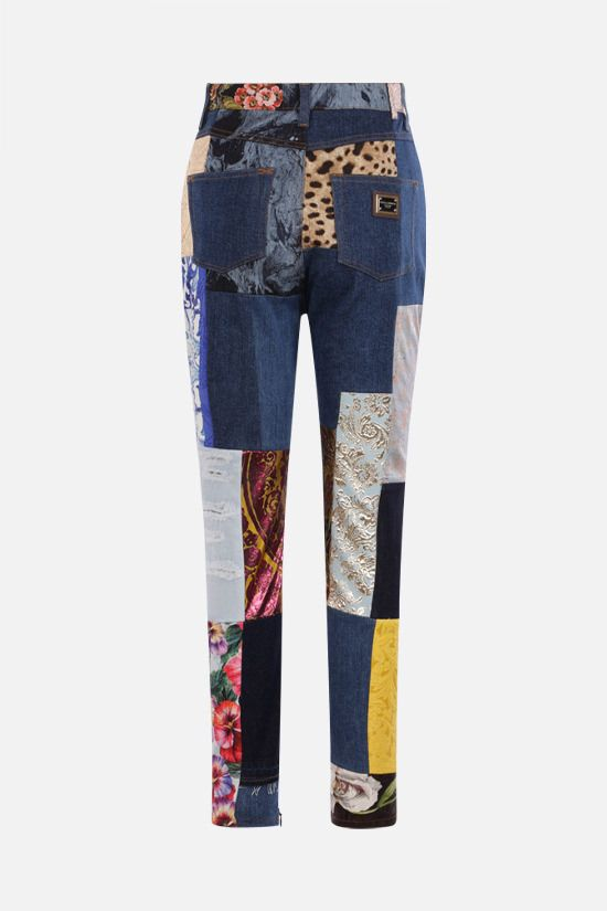 DOLCE & GABBANA: slim-fit patchwork jacquard and denim jeans Color Multicolor_2