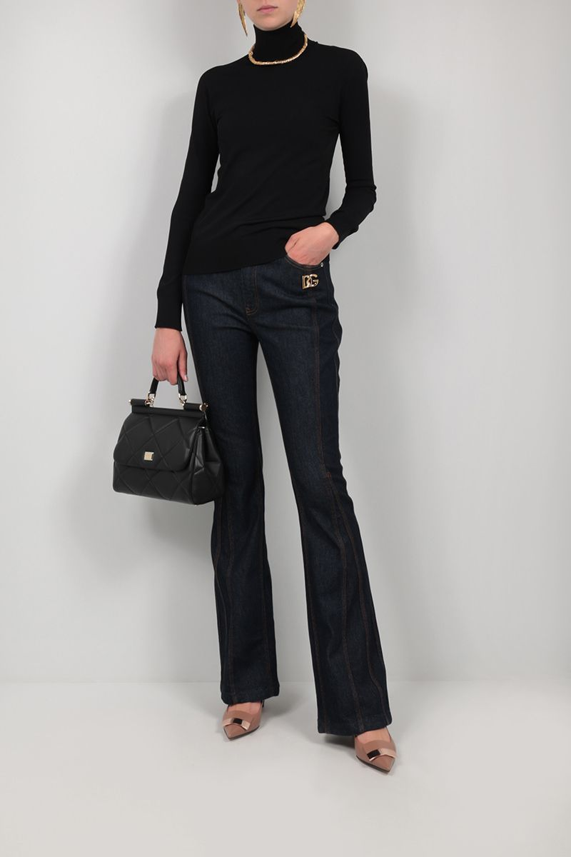 DOLCE & GABBANA: stretch cotton flared jeans Color Blue_2