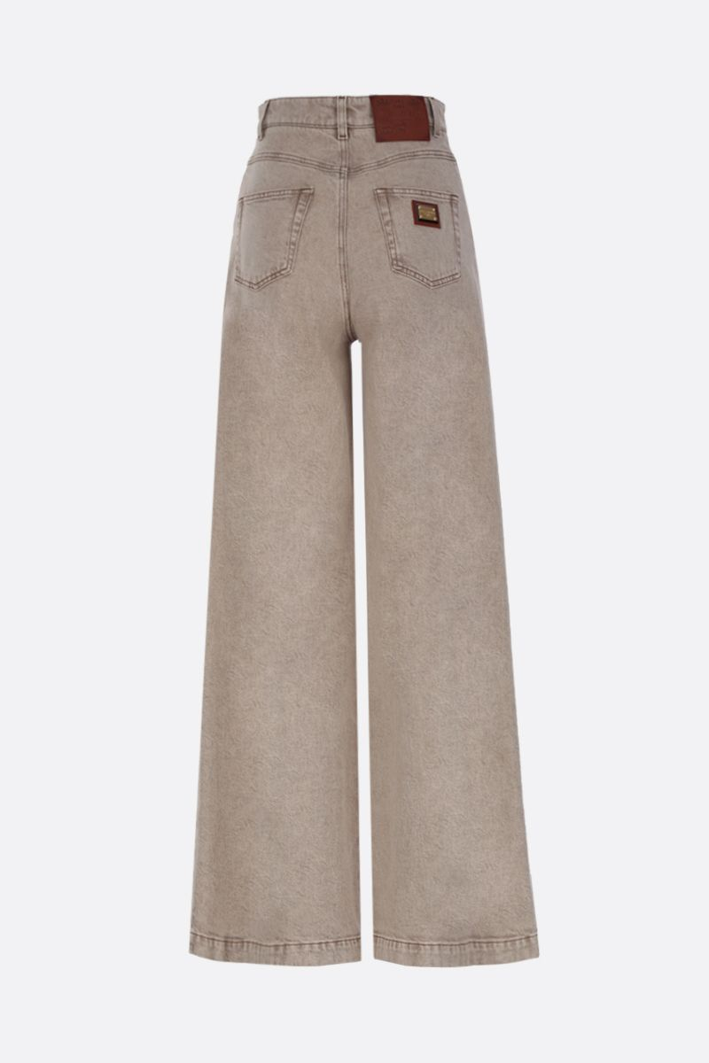 DOLCE & GABBANA: logo plate-detailed wide-leg jeans Color Neutral_2