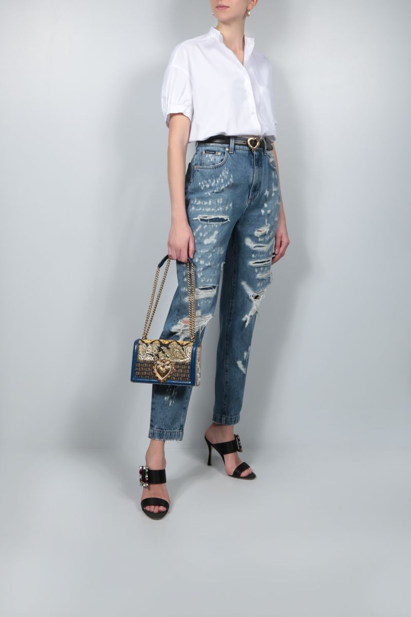 DOLCE & GABBANA: Amber jeans with rips and patchwork inserts Color Blue_2