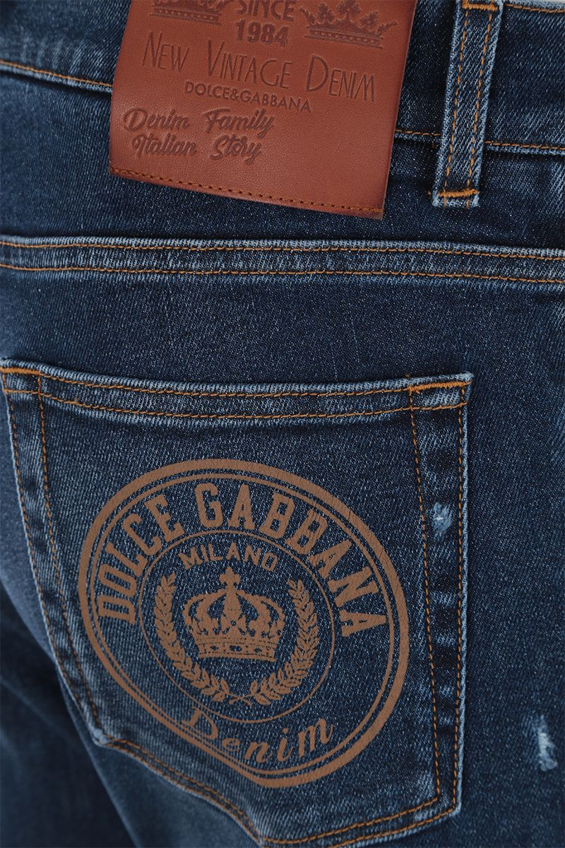 DOLCE & GABBANA: slim jeans with distressed effect Color Blue_3