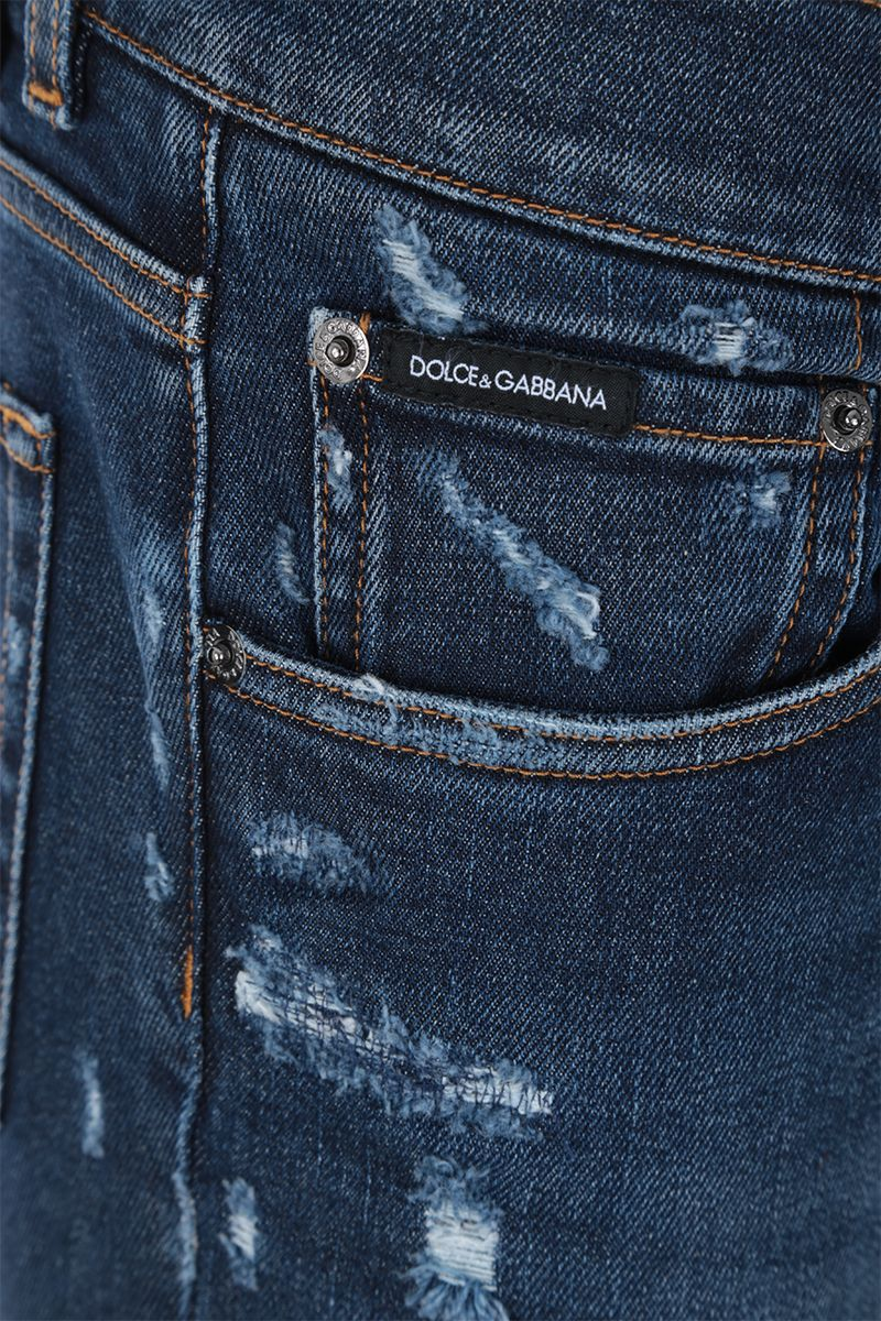DOLCE & GABBANA: slim jeans with distressed effect Color Blue_4