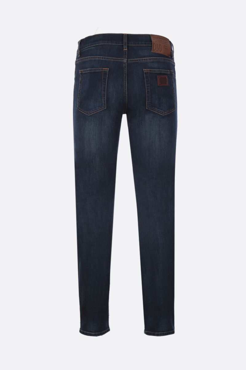 DOLCE & GABBANA: skinny jeans with logoed plate Color Blue_2