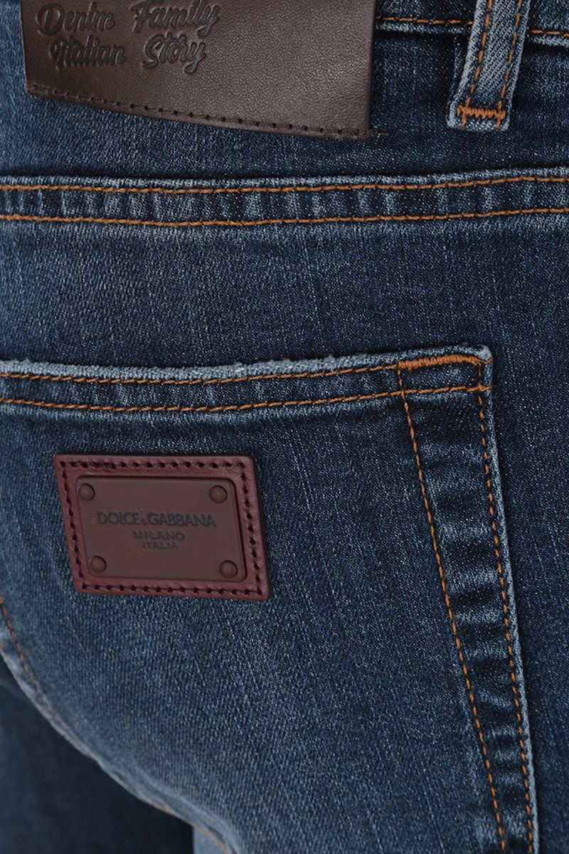 DOLCE & GABBANA: skinny jeans with logoed plate Color Blue_3