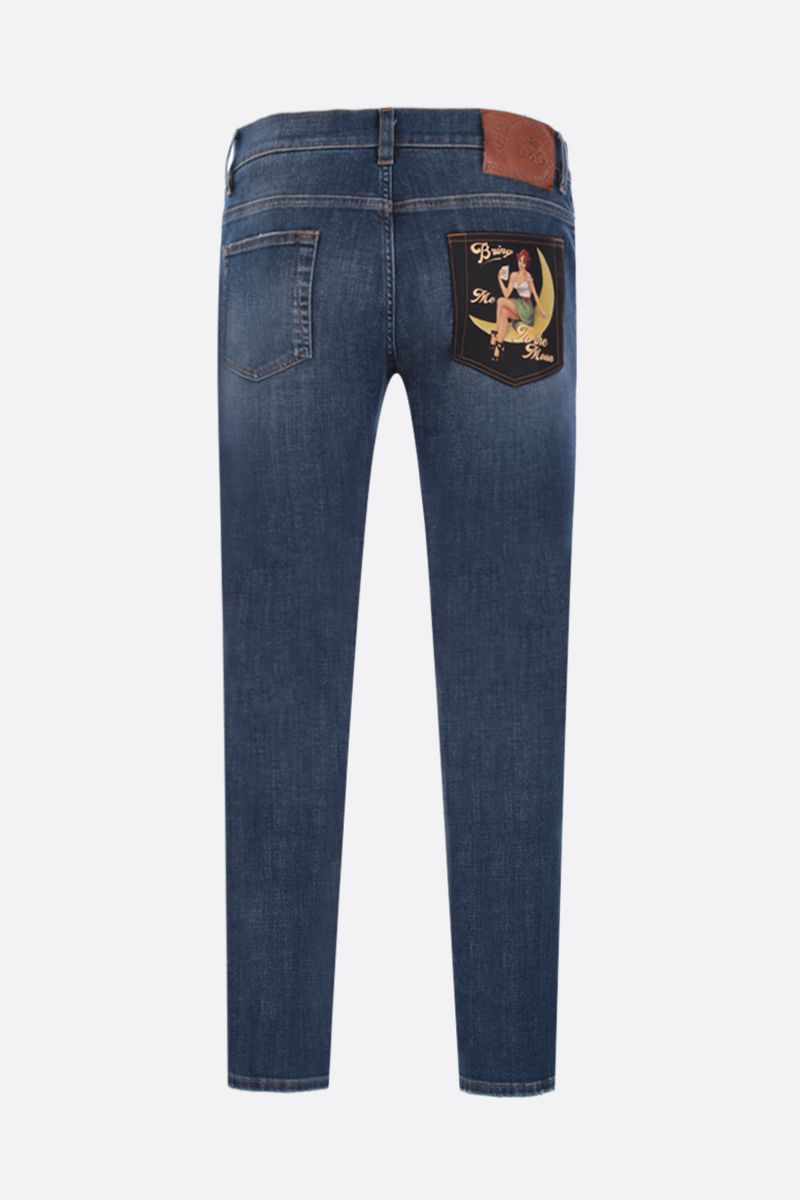 DOLCE & GABBANA: vintage patch-detailed skinny-fit jeans Color Blue_2