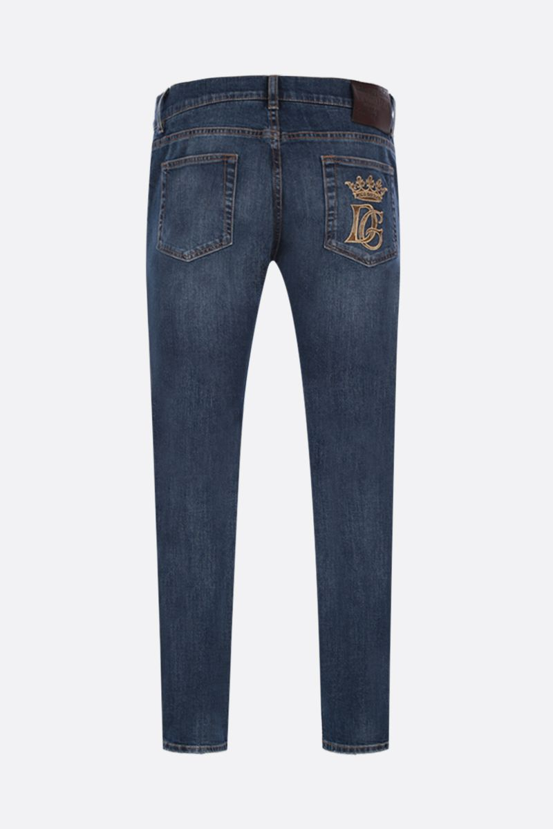 DOLCE & GABBANA: DG Crown-embroidered skinny-fit jeans Color Blue_2