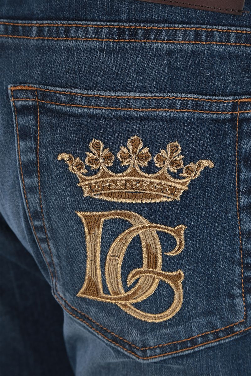 DOLCE & GABBANA: DG Crown-embroidered skinny-fit jeans Color Blue_3