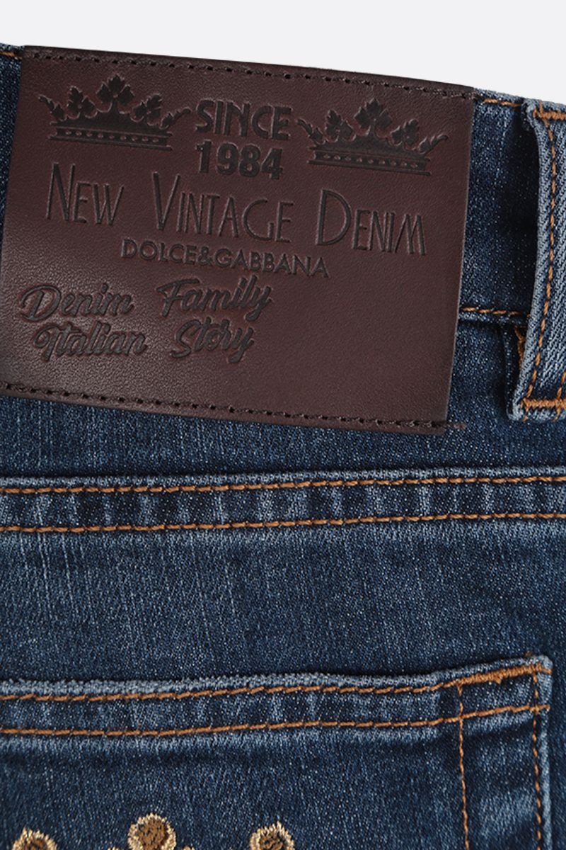 DOLCE & GABBANA: DG Crown-embroidered skinny-fit jeans Color Blue_4