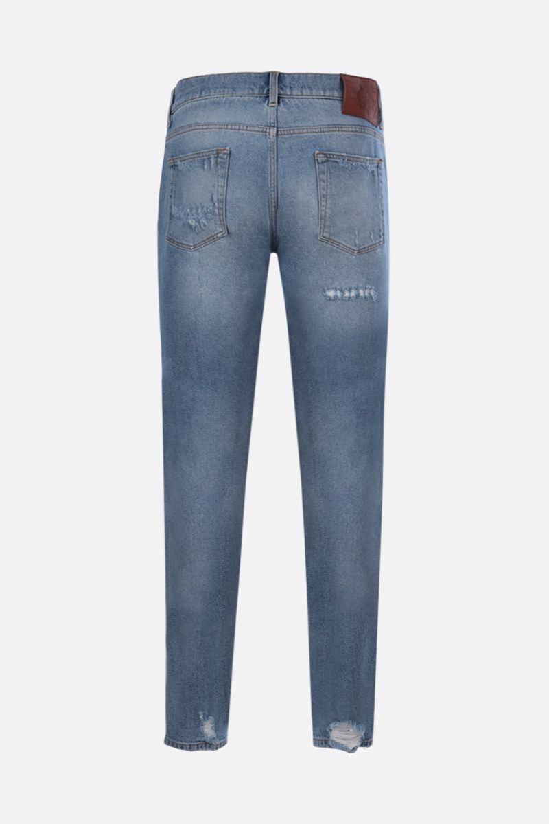 DOLCE & GABBANA: DG Crown patch skinny jeans Color Blue_2