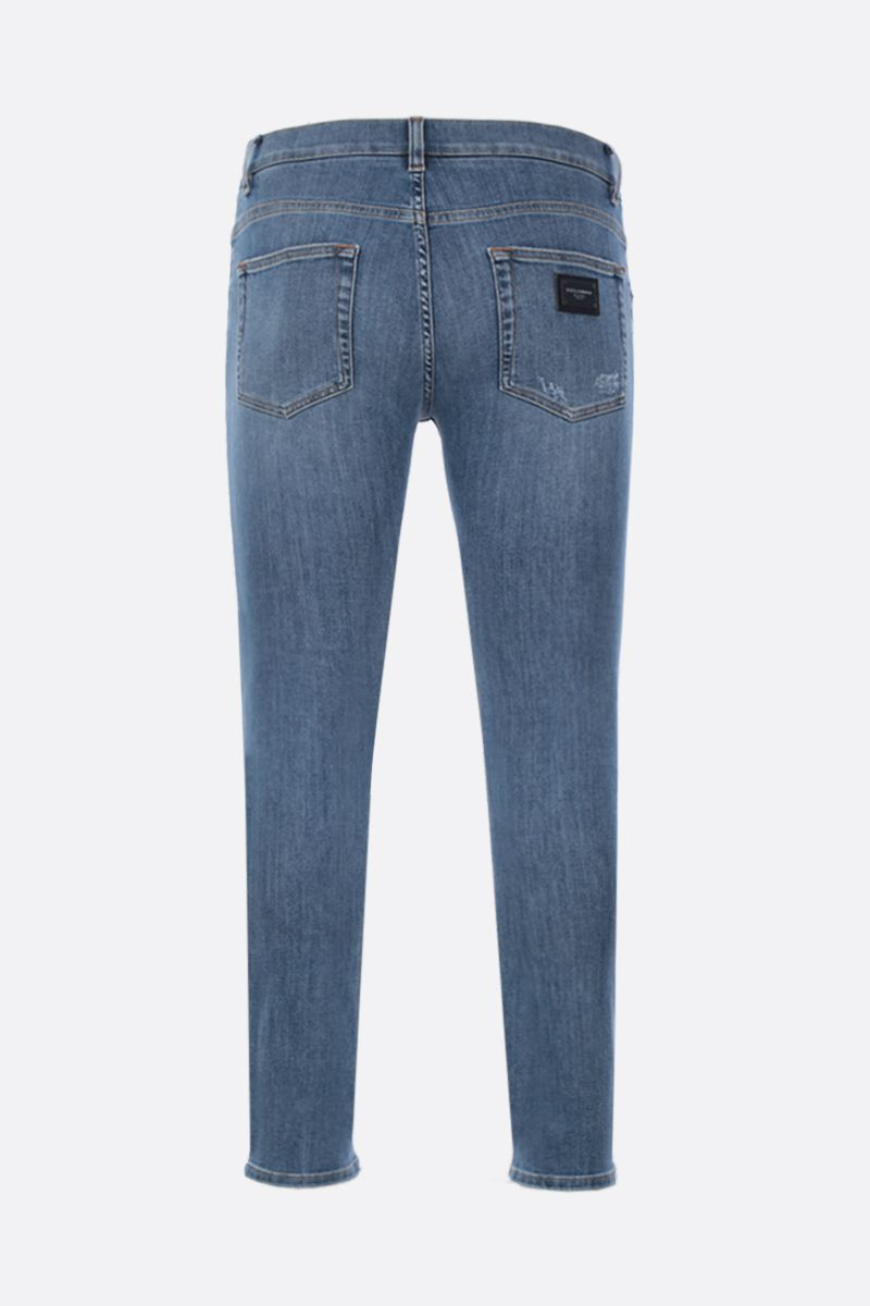DOLCE & GABBANA: running-fit jeans with distressed effect Color Blue_2