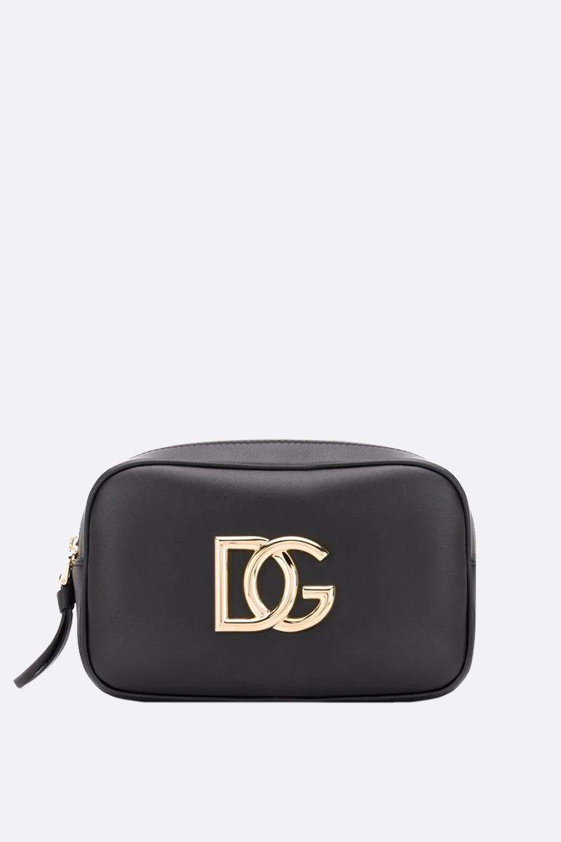 DOLCE & GABBANA: DG-detailed smooth leather belt bag Color Black_1