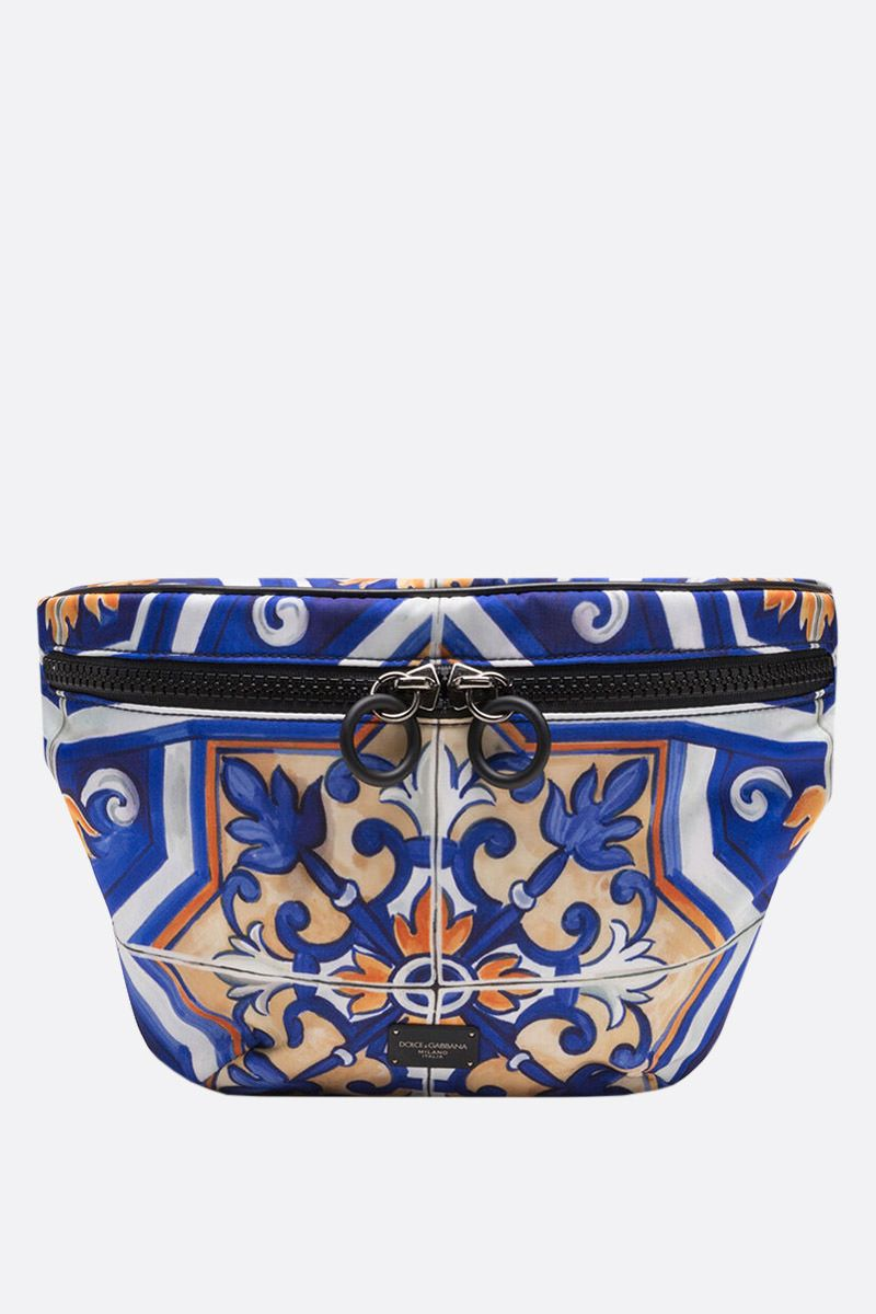 DOLCE & GABBANA: maiolica print nylon belt bag Color Multicolor_1