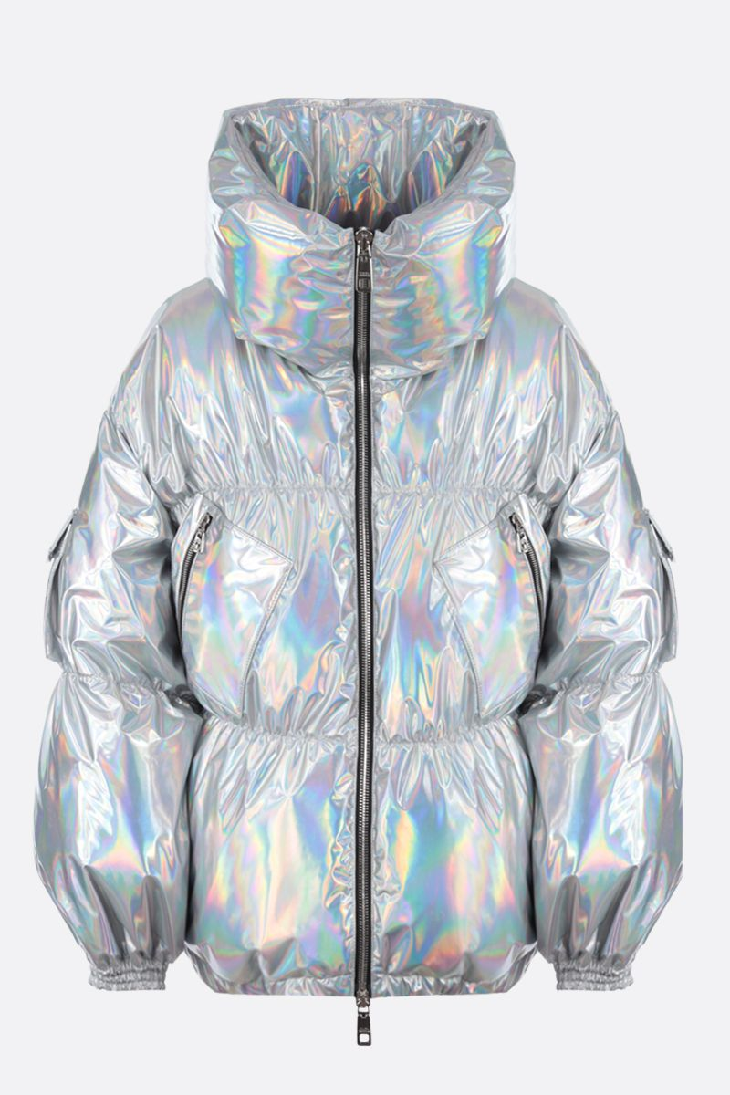 DOLCE & GABBANA: oversized holographic fabric down jacket Color Silver_1