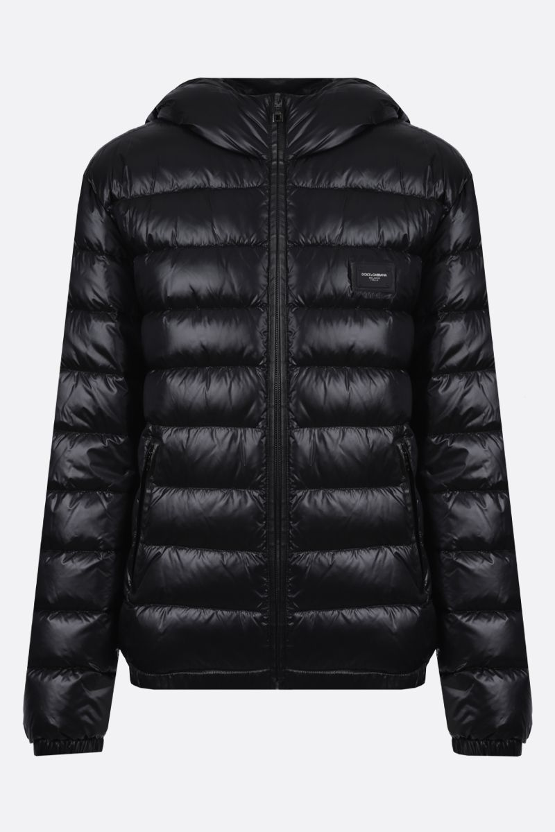 DOLCE & GABBANA: logo-detailed nylon down jacket Color Black_1