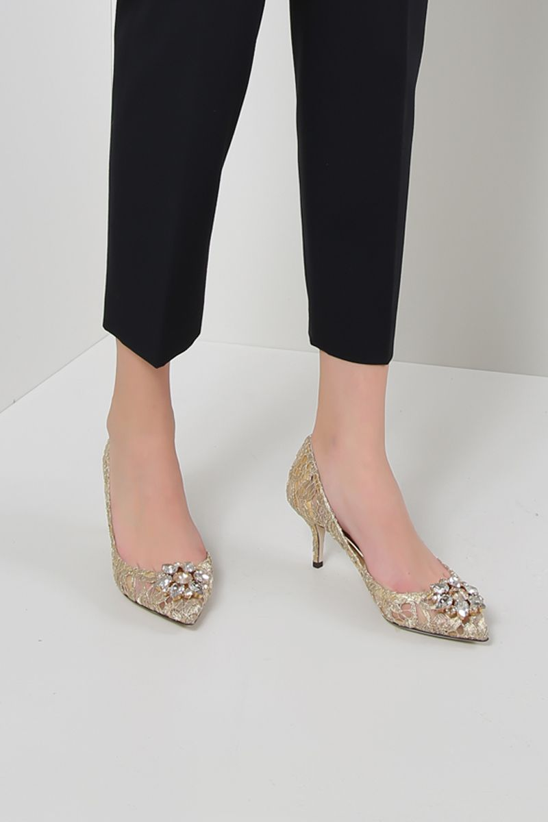 DOLCE & GABBANA: Bellucci pumps in Taormina lace with crystals Color Gold_2
