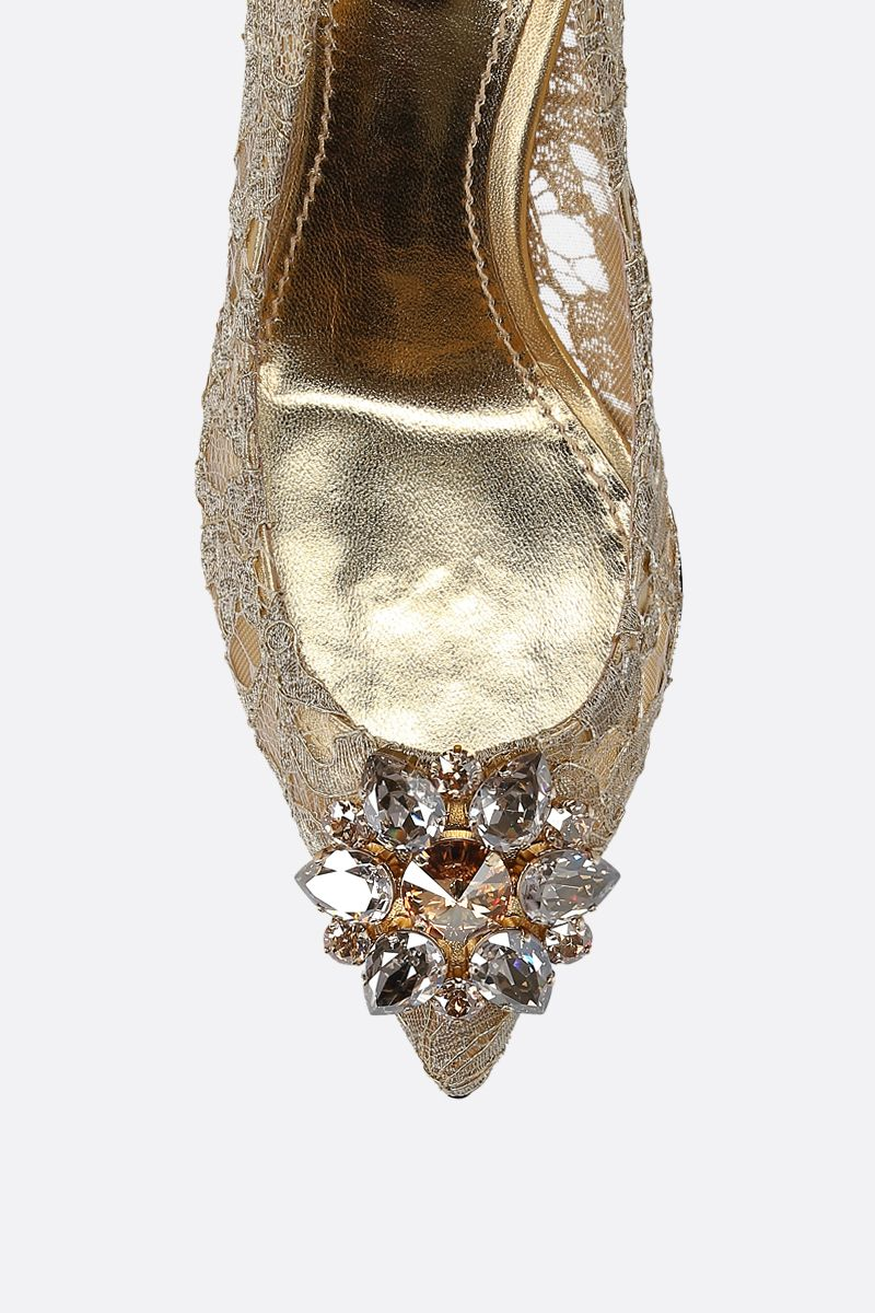 DOLCE & GABBANA: Bellucci pumps in Taormina lace with crystals Color Gold_5