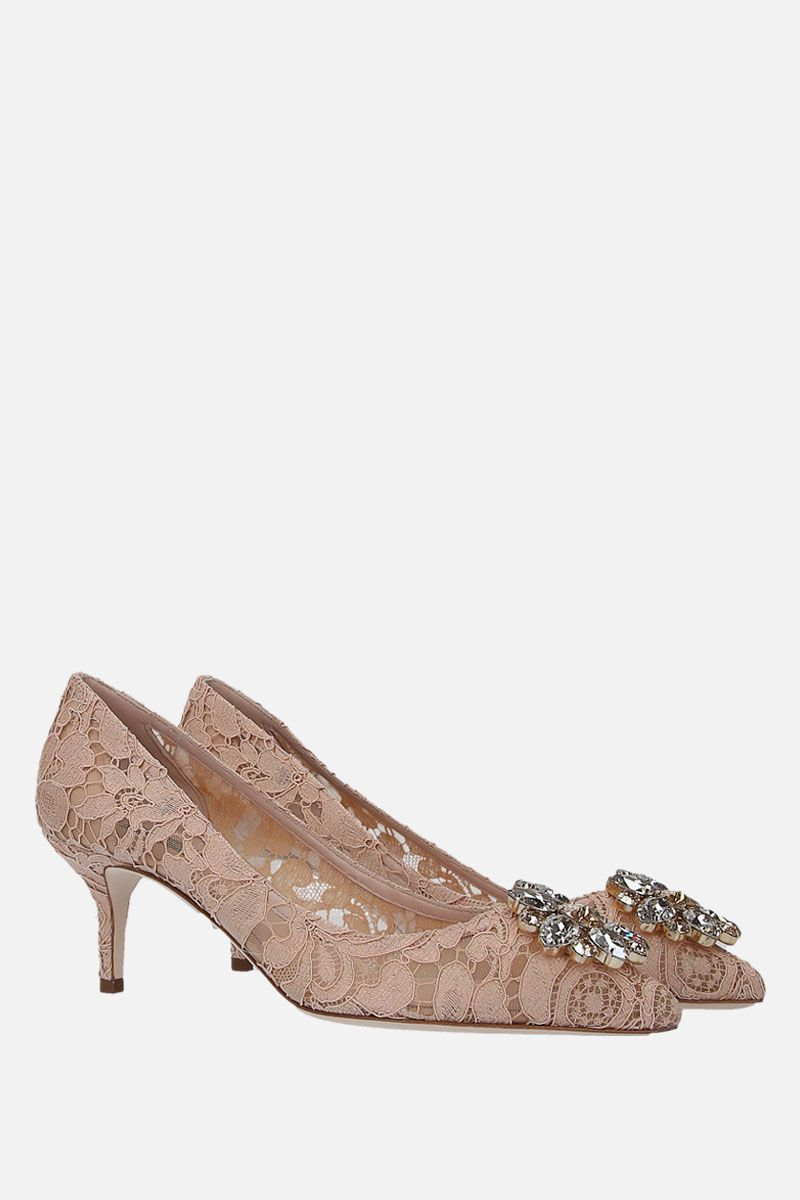DOLCE & GABBANA: Bellucci pumps in Taormina lace with crystals Color Red_3