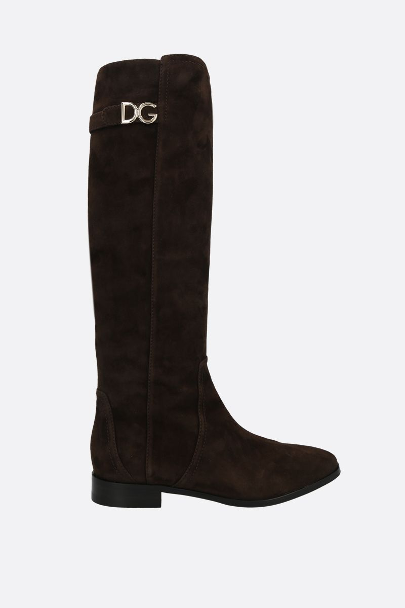 DOLCE & GABBANA: Napoli velvet suede boots Color Brown_1
