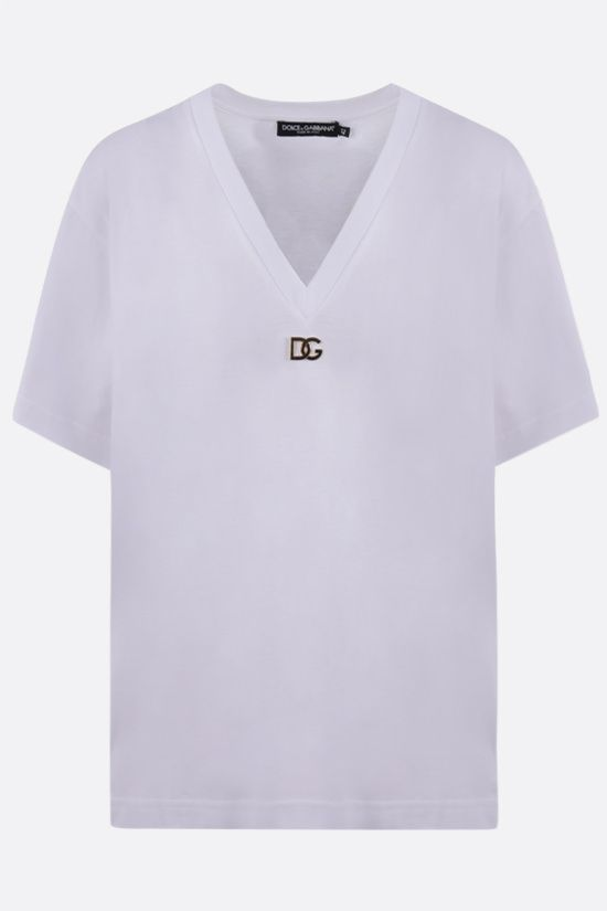DOLCE & GABBANA: logo plaque cotton t-shirt Color White_1
