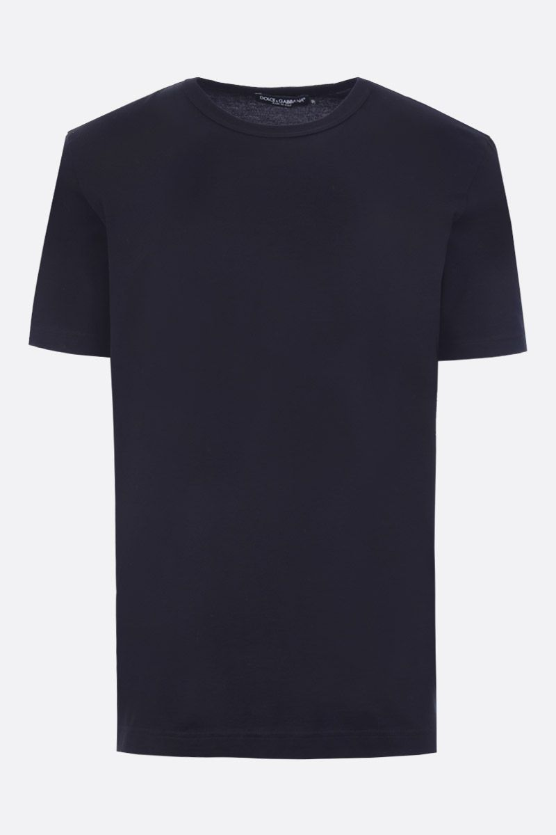 DOLCE & GABBANA: cotton t-shirt with logoed label Color Blue_1