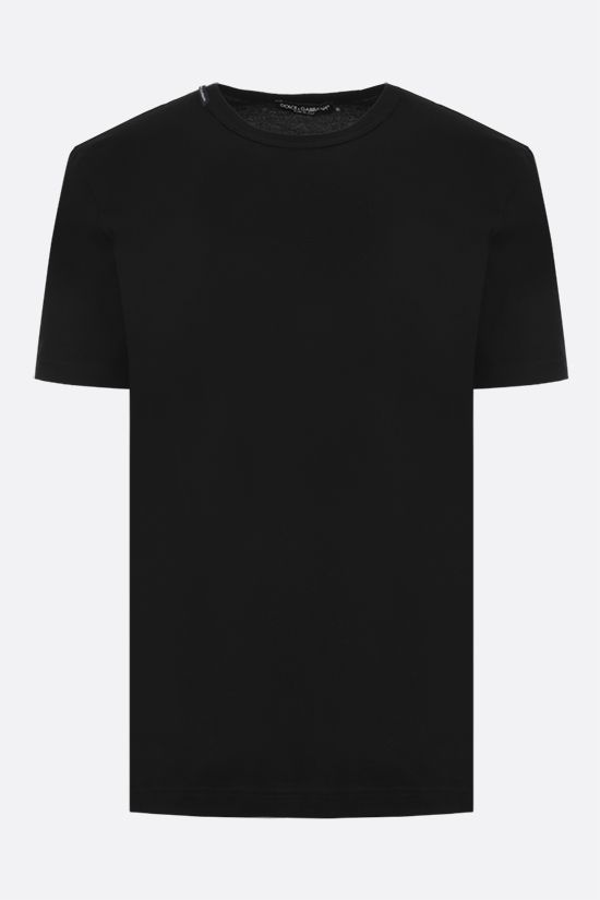 DOLCE & GABBANA: logoed label cotton t-shirt Color Black_1